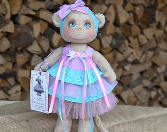 Fabric doll Handmade cloth dolls Monkey Rag doll Animals doll Soft toy Stuffed doll Art doll Home decoration Unique gifts Gift doll Toys