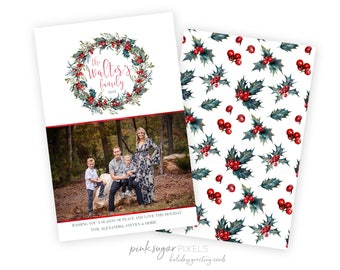Christmas Printable Cards - Holiday Personalized Cards - Family Monogram -Custom Photo Christmas Cards - Printable File - Calligraphy