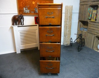 Oak Antique Arts And Crafts 4 Drawer Filing Cabinet By Kenrick Jefferson