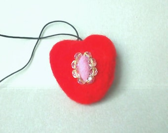 Needle felted decor Felted wool heart Valentines ornament Felt shapes Hanging heart with charm ornament Heart car charm Car mirror charm