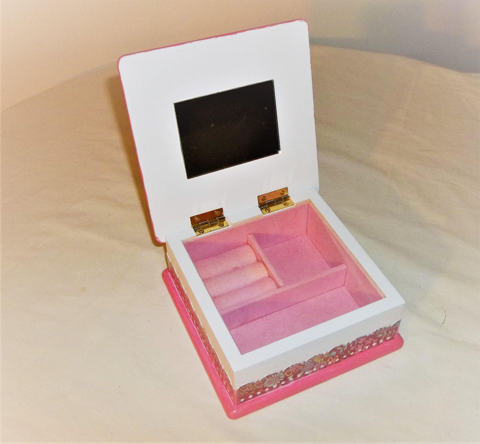 upcycled pink & white child's wood jewelry box - little girl / hearts / flowers / ballet shoes