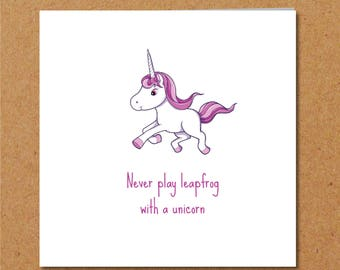 Funny UNICORN CARD Friendship Card Girl Friend Special Person Best Birthday Any Occasion