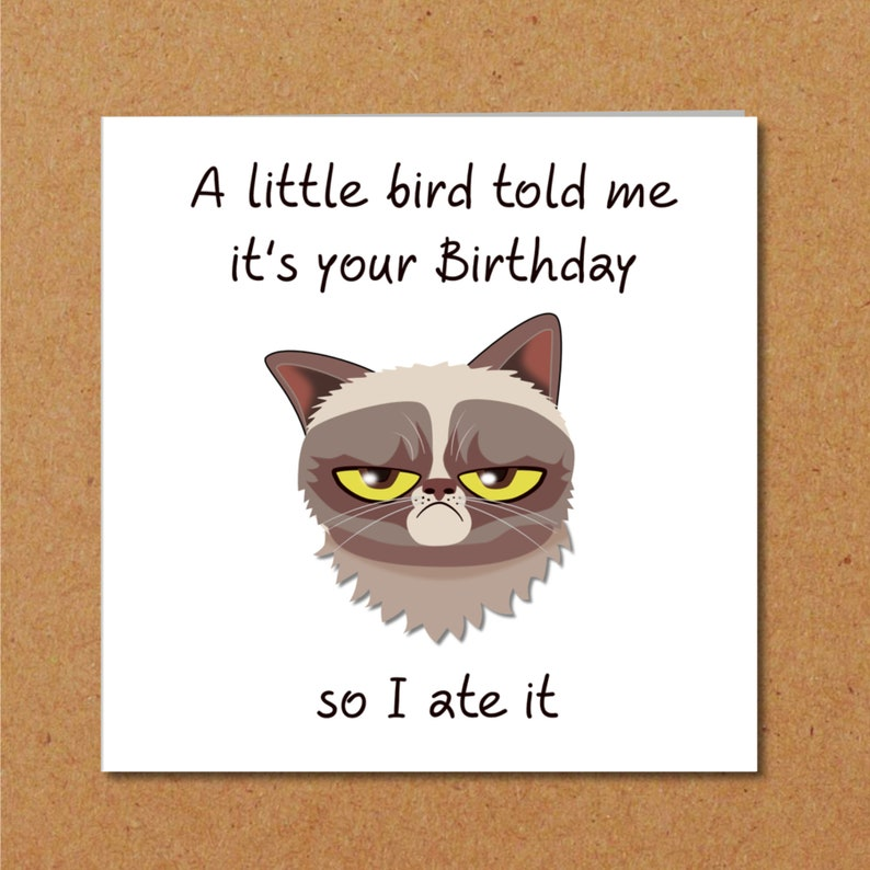 Grumpy Cat Birthday Card For Anyone Who Loves Cats Funny