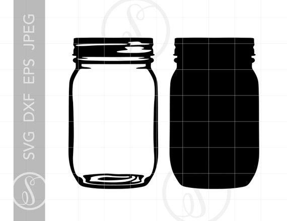 Mason Jar Svg Mason Jar Clipart Mason Jar Silhouette Cut Etsy