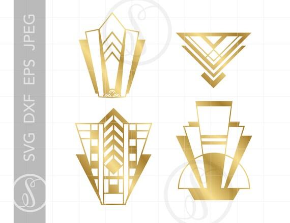 Gold Vector Art Deco Designs Svg Cut Files Clipart Downloads Gold Art Deco Svg Dxf Pdf Silhouette Art Deco Elements Svg Clipart Sc465g