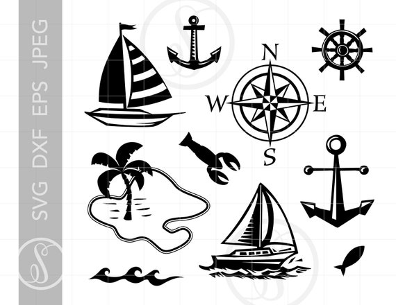 Sailing Svg Cut File Clipart Downloads Sailboat Svg Nautical Etsy