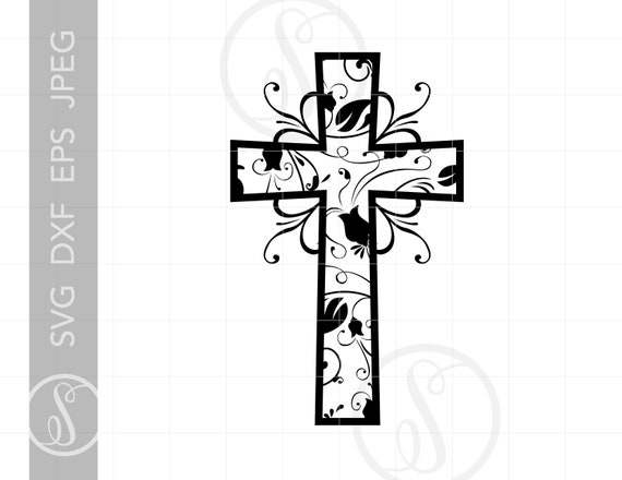Christian Art Cross Svg Cut File Clipart Downloads Religious Etsy