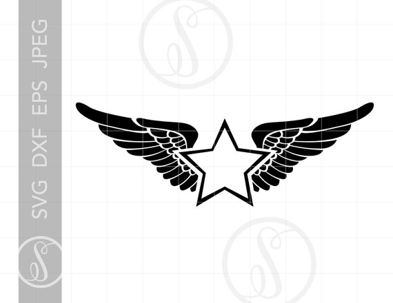 Winged Star Monogram Frame Svg Winged Star Clipart Winged Etsy