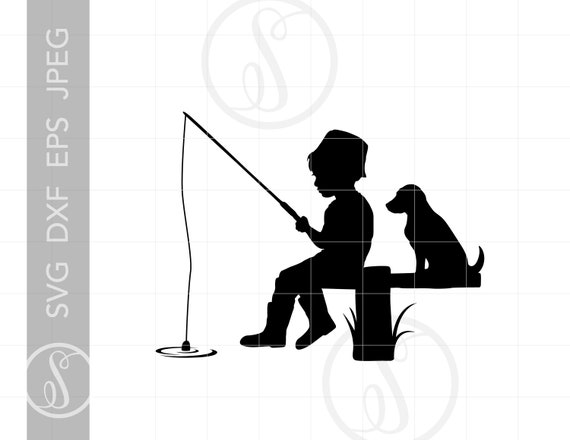 Download Boy And Dog Fishing Silhouette Cut File Vector Boy Fisherman Svg Jpg Eps Pdf Png Dxf Downloads Sc1492