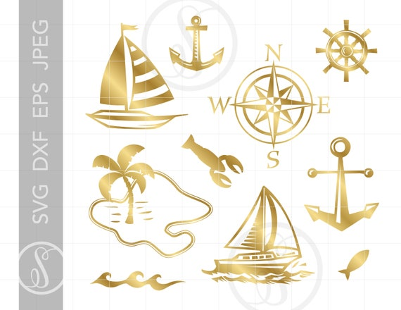 Gold Sailing Svg Cut File Clipart Downloads Gold Sailboat Etsy