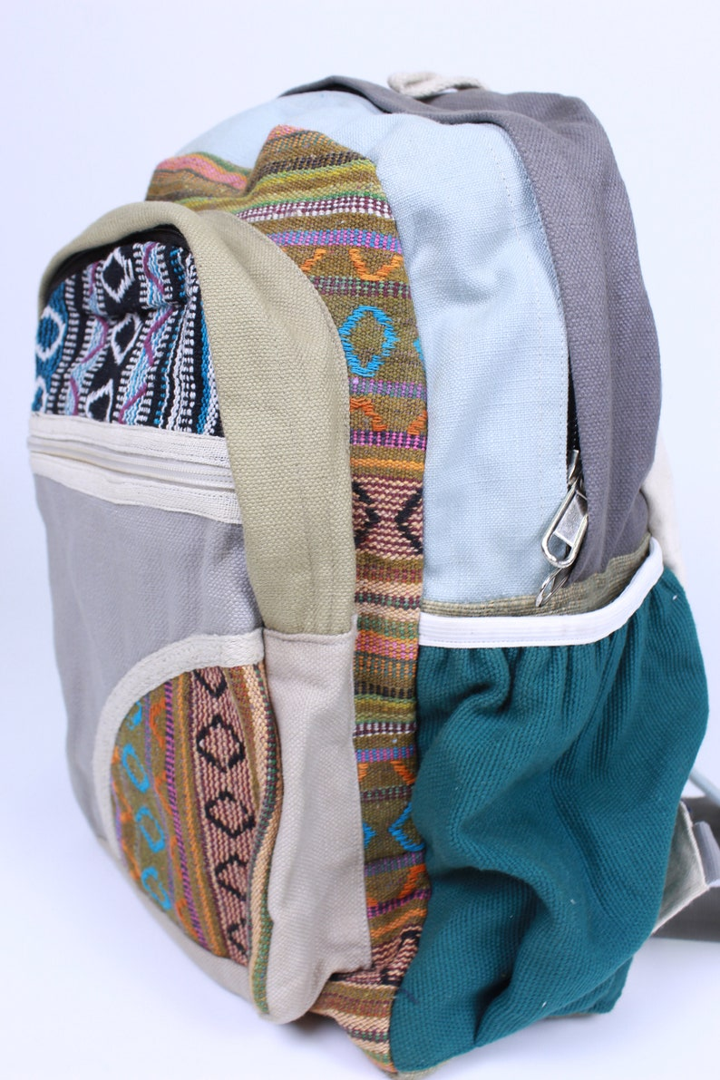 Back to School Travel Backpack Hemp Backpack Boho Backpack School Backpack Handmade Backpack