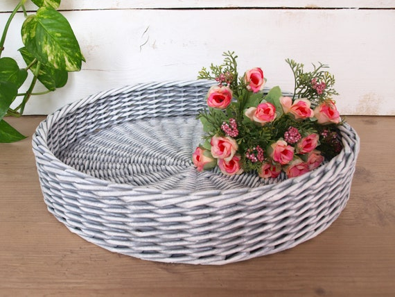 Terrific Gray And White Storage Ottoman Tray Round Coffee Table Tray Rustic Tray Farmhouse Wicker Table Tray Centerpiece Easter Tray Decor Bralicious Painted Fabric Chair Ideas Braliciousco