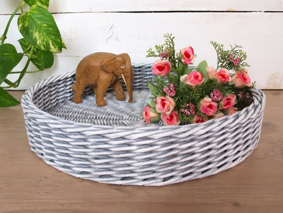 Gray And White Storage Ottoman Tray Round Coffee Table Tray Etsy