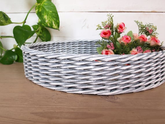 Amazing Gray And White Storage Ottoman Tray Round Coffee Table Tray Rustic Tray Farmhouse Wicker Table Tray Centerpiece Easter Tray Decor Bralicious Painted Fabric Chair Ideas Braliciousco