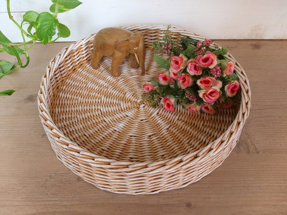 Phenomenal Beige And White Storage Ottoman Tray Round Coffee Table Tray Rustic Tray Farmhouse Wicker Table Tray Centerpiece Ibusinesslaw Wood Chair Design Ideas Ibusinesslaworg