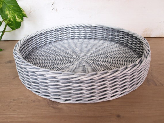 Fine Gray And White Storage Ottoman Tray Round Coffee Table Tray Rustic Tray Farmhouse Wicker Table Tray Centerpiece Easter Tray Decor Bralicious Painted Fabric Chair Ideas Braliciousco