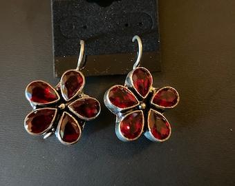 """Garnet sterling silver flower earrings 1.5"""""""