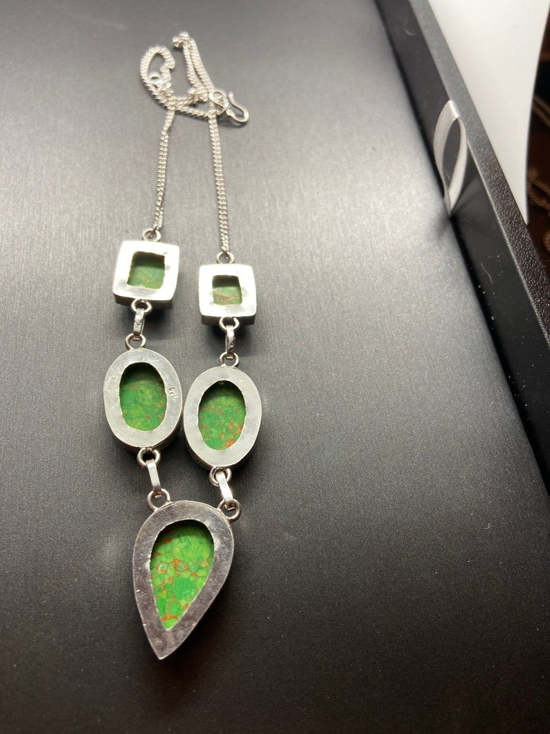 Green turquoise sterling silver necklace 22\u201d