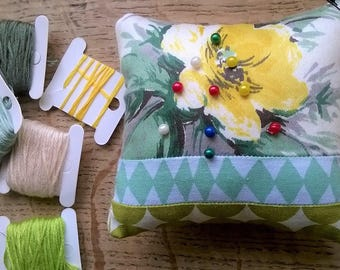 Scandi 50's Yellow Peonie Pincushion