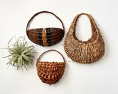 One Vintage Wicker Wall Pocket, Air Plant Holder, Boho Wall Decor