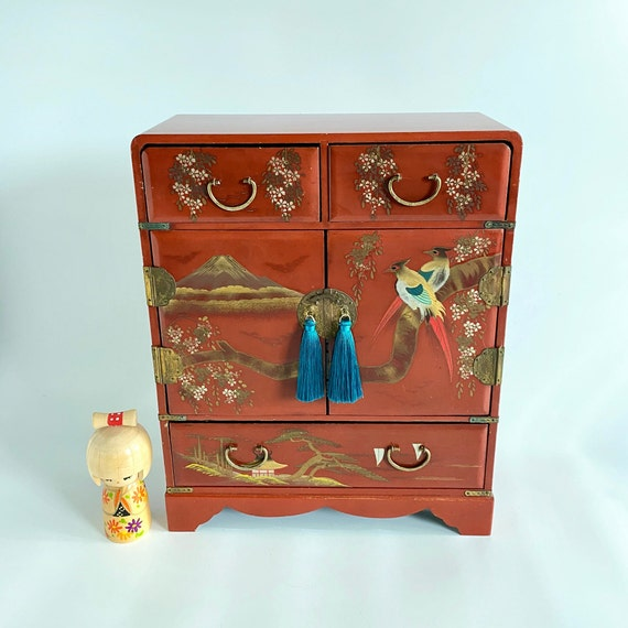 Vintage Japanese Red Lacquered Jewelry Box, Jewelr
