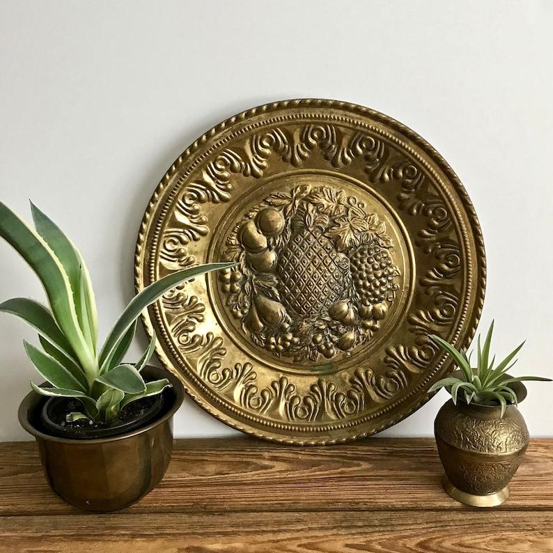 Vintage Brass Plate Brass Platter Pineapple Wall Plate Etsy