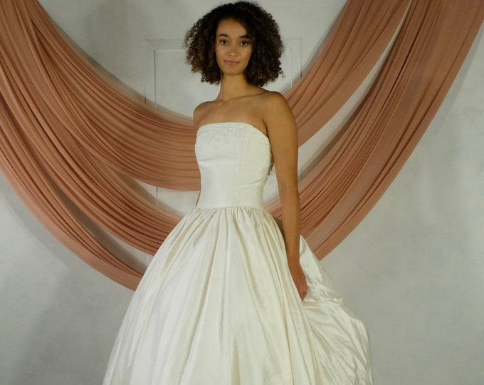 Featured listing image: Vintage Silk Sleeveless Ballgown Wedding Dress