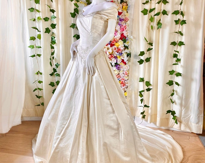 Featured listing image: 100% Silk Ballgown with Lace Belt and Off- Shoulder Sleeves