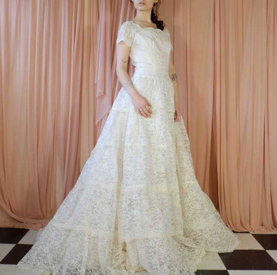 Lace Multi Tiered Wedding Dress