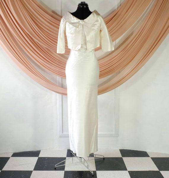 Silk Wedding Dress with Matching Cropped Jacket