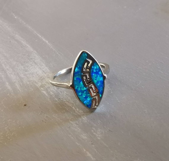Sterling silver 925 Blue opal ring Greco style jewelry Greek history gift idea