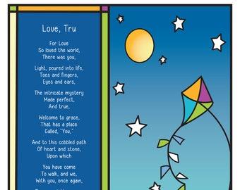 Child's Name Wall Art & Original Poem (Full Moon Design)