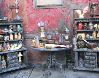 Miniature witch accessories Haunted dollhouse Handmade Halloween miniatures Mini potion bottles apothecary 1/12 scale cabinet