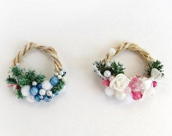 Mini wreath Dollhouse miniature Christmas ornaments