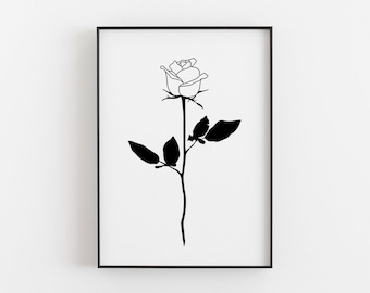Line Drawing Of Rose Plant : Rose tattoo design poster flower silhouette black wall etsy