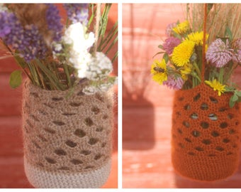 Crocheted Hanging Jar Cover, Haning Vase, Candle Holder Cover / Hanging Lanterns, Mason Jar Cover, Indoor / Outdoor Decoration, Gift for Her