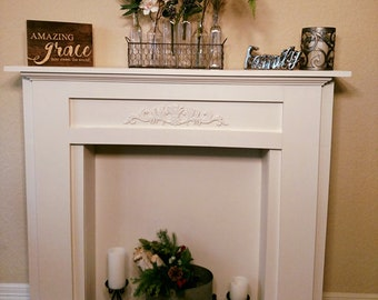 Handcrafted Faux Fireplace/Mantel, wood work, wood mantel fireplace, wood mantel, rustic home decor, gift for mom, wood fireplace mantel