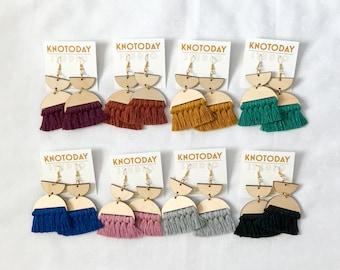 Geometric Wood Fringe Earrings Handmade Earrings - Paintbrush