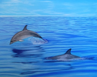 Dolphin sea pastel drawing