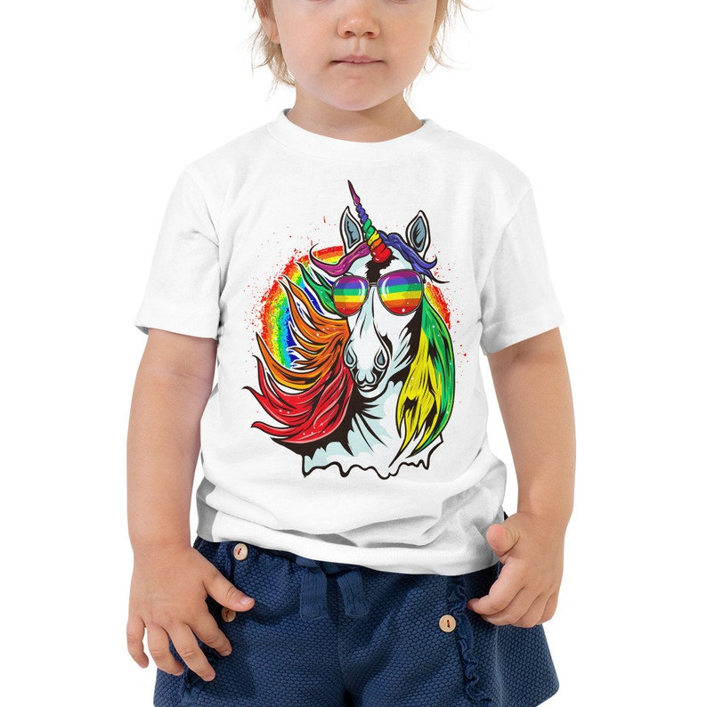 Kids Or Little Boys and Girls Rainbow Gay Pride Dabbing Unicorn Unisex Childrens Short Sleeve T-Shirt