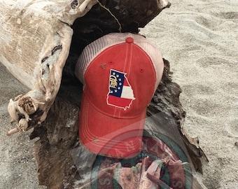 Georgia,Trucker hat,Monogram,Vintage,State Flag,