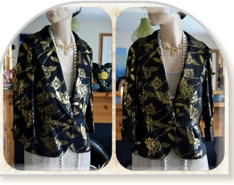 Art Deco Short Raw Silk Black Jacket with Gold embroidered Oriental Floral Motifs Size UK 10 US 6