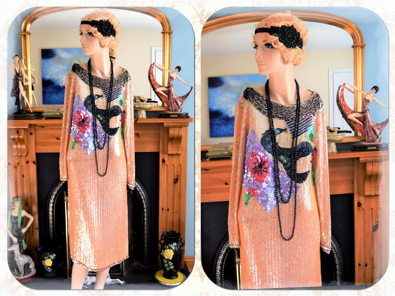 Outstanding Vintage flapper Great Gatsby dress Silk Beaded and Sequinned 1920/'s Art Deco Avant Garde Statement dress size UK 10 12 US 6 8