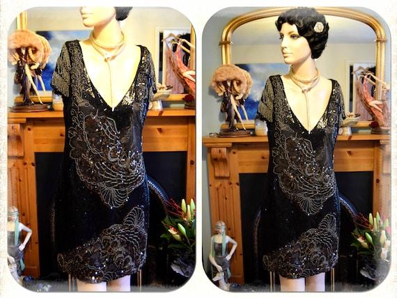 Vintage Black  Net 1920/'s intricate beading heavily embellished beautiful jacket Large UK 8 US 4