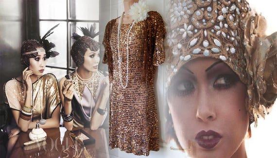 1920s dress flapper dress flapper gold dress Great