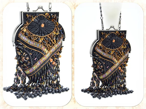 Flapper evening bag V 1920s tasseled bag flapper b