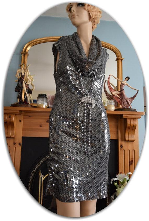 1920s dress flapper dress flapper black graphite … - image 9