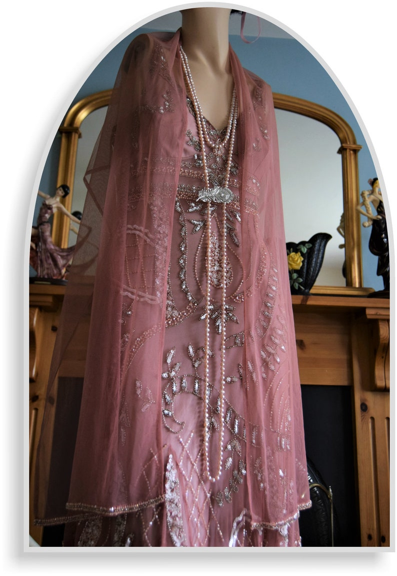 Downton Abbey Dress Great Gatsby dress Flapper Dress 1920s dress flapper beaded dress Dusty Pink 1930s evening dress Size UK 16 US 12