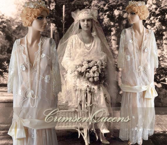 Art Deco 1920s wedding dress flapper wedding dress