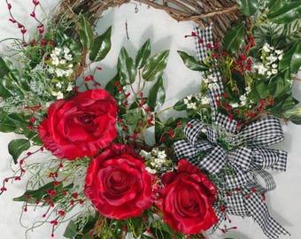 Rose and ficus leaf wreath